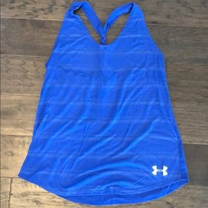 Under armory twisted back blue tank top L
